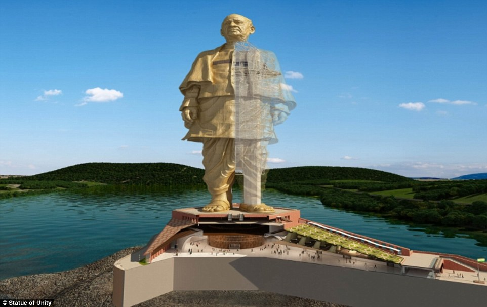 A rendering of the Statue of Unity, which will be the world's tallest statue when it's finished in October