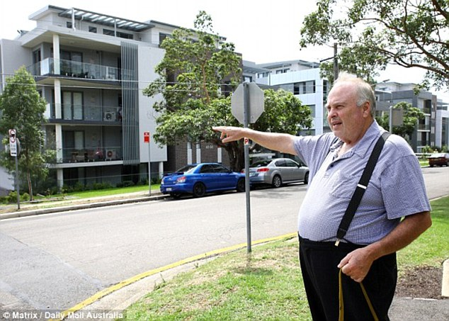 John McCaffrey (pictured) remembers when there was paddocks across the road - now there is dozens of apartment blocks up and down his suburban street at Epping, in western Sydney