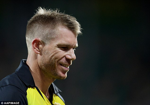 The Australian vice-captain (pictured) was locked in a heated exchange after he was bowled out on Friday when a fan allegedly made a remark about his wife Candice