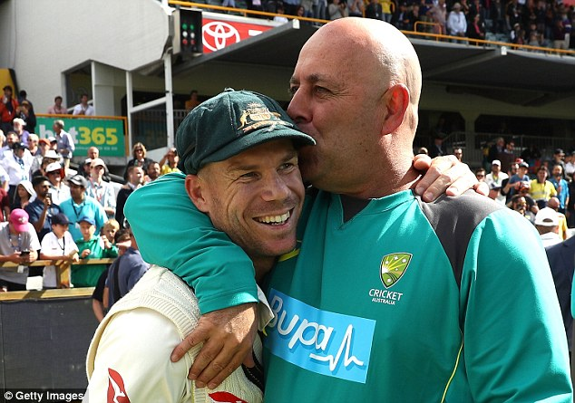 Mr Lehmann (pictured with Warner) said the spectator sledging had crossed the line from friendly banter to plain disrespect