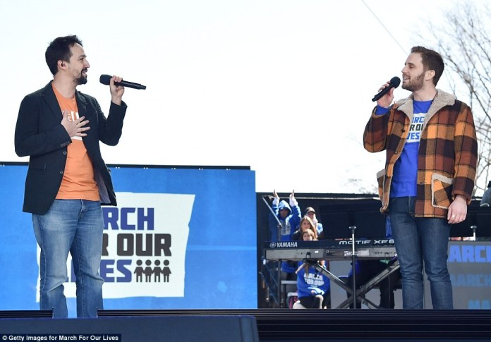 Lin-Manuel Miranda and Ben Platt perform on the stage at the March For Our Lives in Washington DC on Saturday