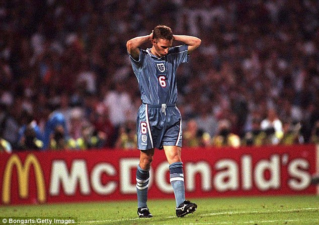 England's Euro 96 run ended with Southgate missing in a penalty-shootout loss to Germany