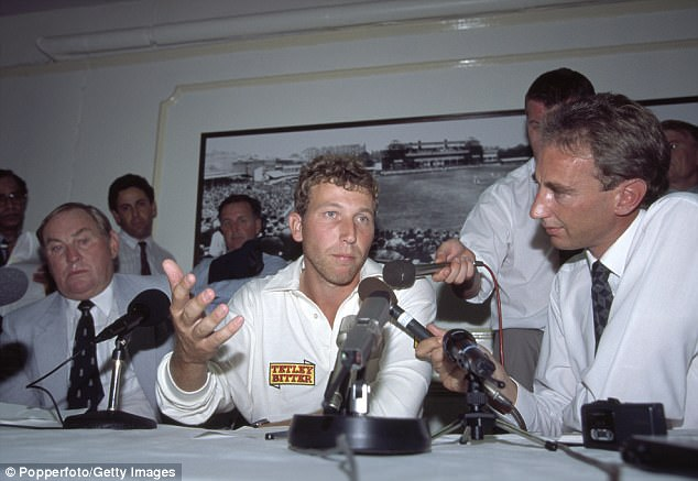 Michael Atherton (centre) was caught in what became known as the 'dirt in the pocket scandal' in the 1994 Lord's Test between England and South Africa