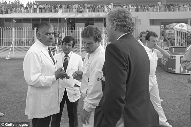 Shakoor Rana the Pakistani umpire (left) with Mike Gatting of England (centre) and team manager Peter Lush during the controversial bust up over ball tampering in the test match against Pakistan in 1987