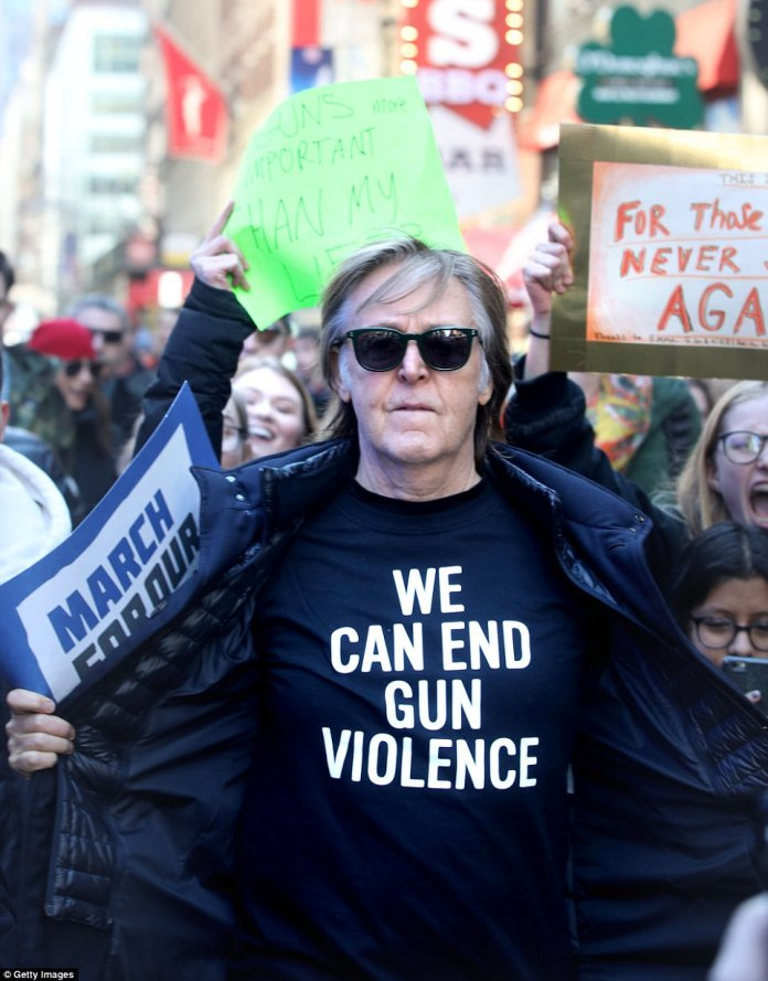 Paul McCartney wears a t-shirt reading 'We Can End Gun Violence' during the March For Our Lives protest in New York City