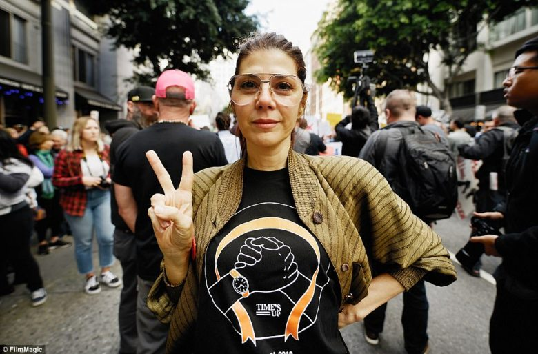 Actress Marisa Tomei participates in March For Our Lives Los Angeles while wearing a Time's Up shirt