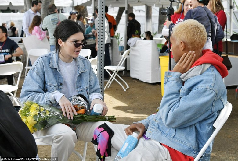 Model and reality star Kendall Jenner turned up to the protest and was spotted with friend Jaden Smith