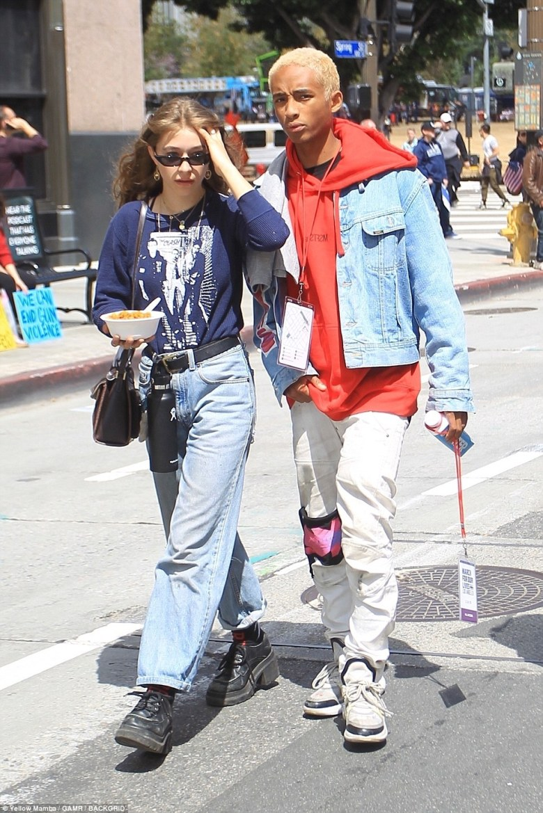 Jaden Smith and his girlfriend Odessa Adlon march at the anti-gun March For Our Lives rally in downtown LA