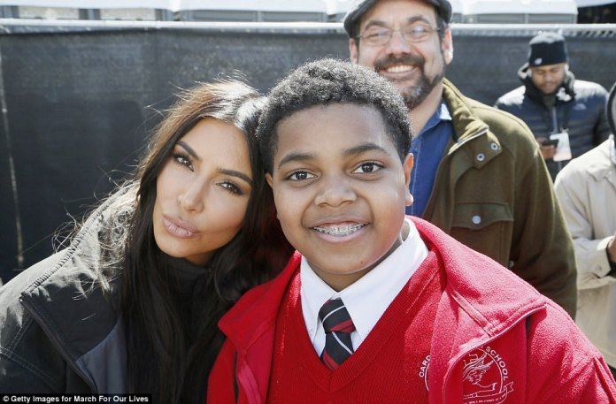 Kim Kardashian West posed for a selfie with a young attended at the march in Washington