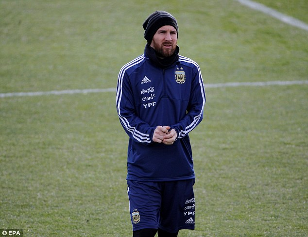 Lionel Messi was back in Argentina training on Sunday ahead of his country's clash with Spain