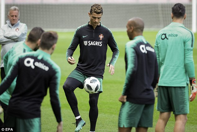 The Real Madrid attacker demonstrates his exemplary close control during the training session