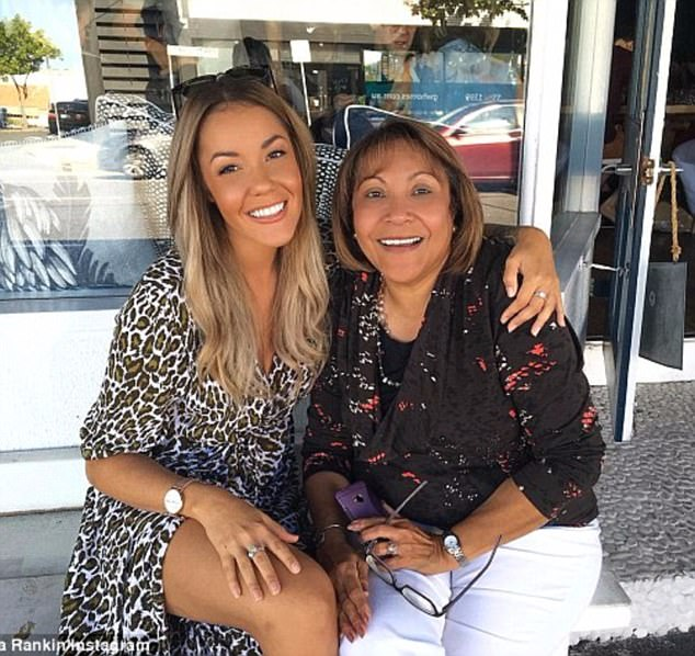 "Helpless"" She became choked up and stopped, before continuing: 'I just felt really bad for them because's it's all on the internet'. Pictured with her mother Barb"
