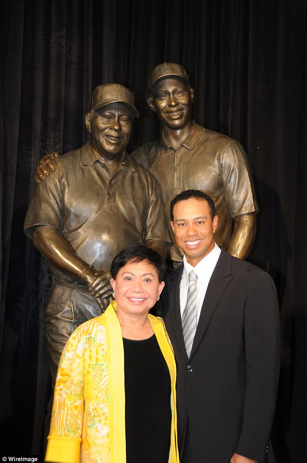 Kultida Woods and her son at the dedication of the statue honoring his father Earl Woods at the Tiger Woods Learning Center on January 21, 2008 in Anaheim, California