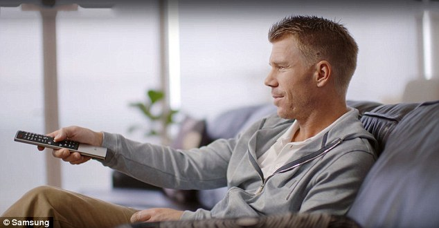 David Warner has also been a lucrative face for advertisements, featured here in a Samsung commercial