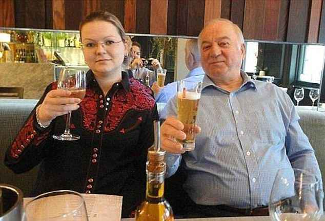 Russia appears to be protecting the identity of Yulia Skripal's 'strange' fiancé who has suspected links to Moscow's secret services. Pictured: Yulia and her father, Sergei