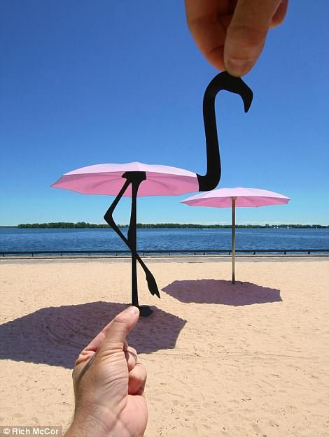 A pink umbrella becomes a flamingo