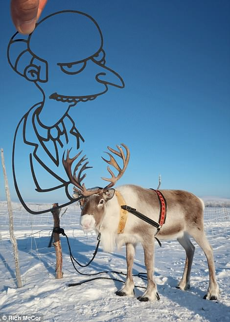 The nefarious Mr Burns from the hit animated show The Simpsons springs up from a reindeer
