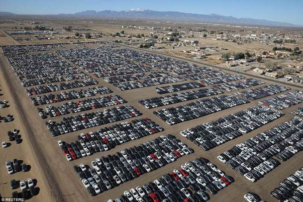 Storage lots include a shuttered suburban Detroit football stadium, a former Minnesota paper mill and the desert site near Victorville, California
