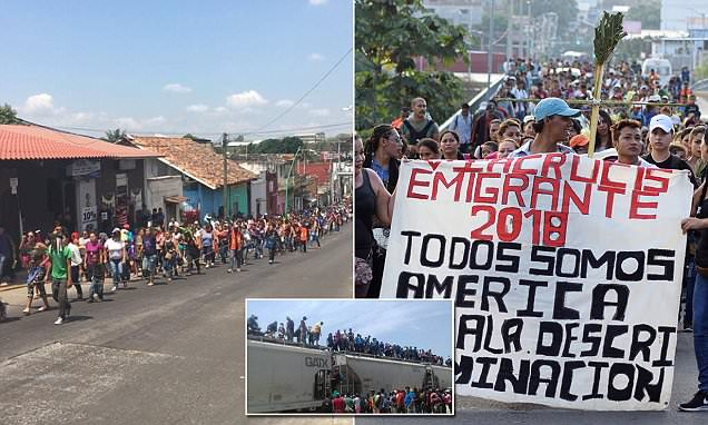 1,200 illegal Central American migrants march towards the US