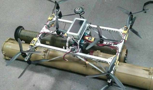 This appears to show one of the drones armed with anti-tank rockets that ISIS are allegedly planning to detonate at the tournament in Russia
