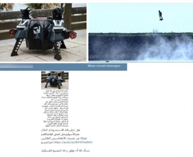 This image  appears to show a drone designed so it can be stood on (top left), along with a description of the contraption (bottom) and an image of the drone in action (top right)