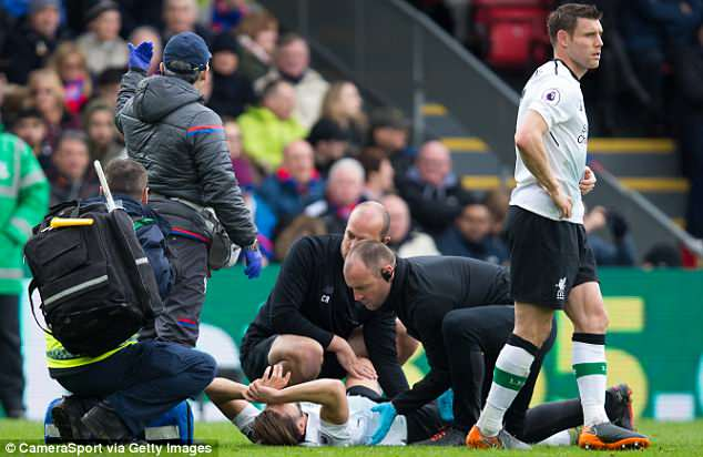 The 29-year-old suffered a hamstring injury against Crystal Palace and is inconsolable