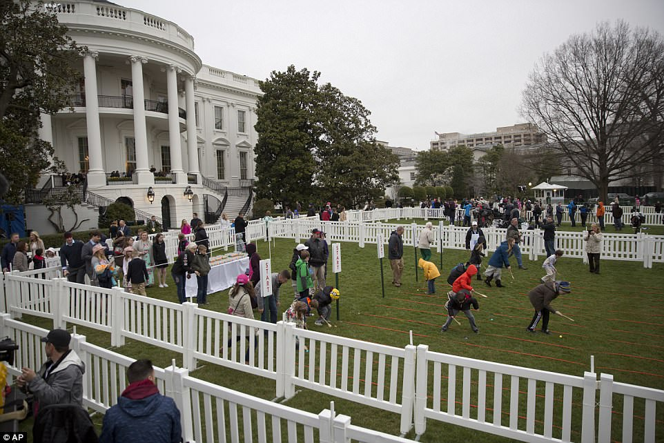 Children roll Easter Eggs at this year's White House Easter Egg Roll, one of the biggest events Melania Trump puts on during the year
