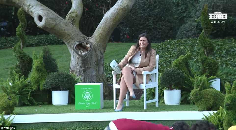 White House Press Secretary Sarah Huckabee Sanders sported some Easter-appropriate blues shoes to Monday's Easter Egg Roll