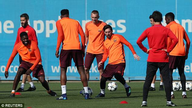 Thirty-year-old Barca striker Messi looked sharp during a brief exercise on Tuesday afternoon