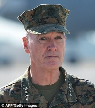 United front: Chairman of the Joint Chief of Staff Marine General Joseph Dunford and Defense Secretary Jim Mattis - also a retired Marine four-star general - both went head to head with Trump on pulling out of Syria in a Situation Room encounter which has leaked