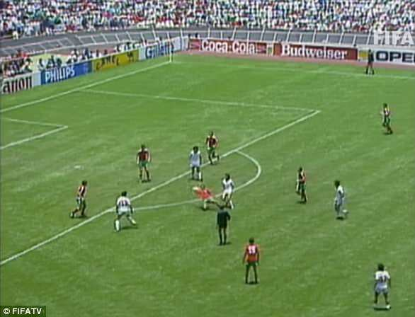 The midfielder bypasses the Bulgaria defender with a one-two withJavier Aguirre