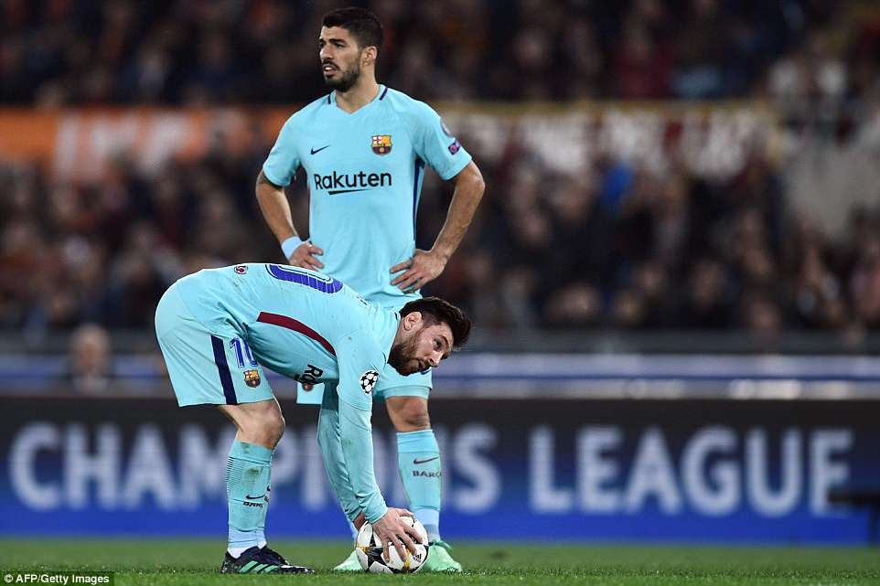 Barca led 4-1 from the first leg but did not rest either of their star strikers as Luis Suarez (top) and Lionel Messi both started