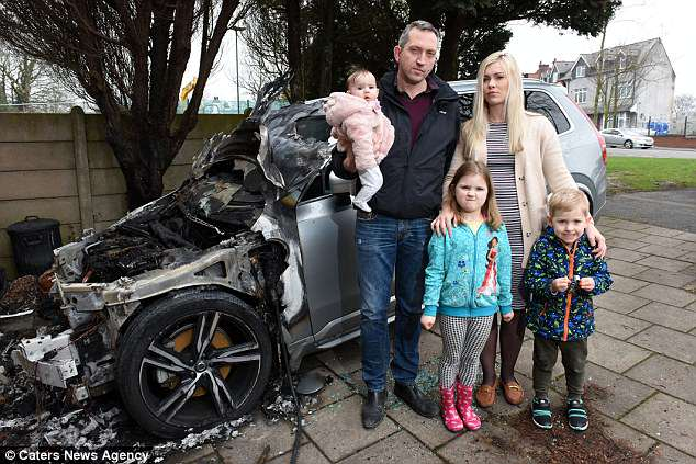Family flee home after their £56,000 Volvo hybrid car bursts into