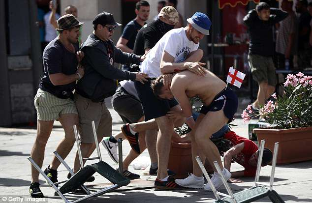 Russian thugs targeted English fans ahead of their Euro 2016 match in Marseille