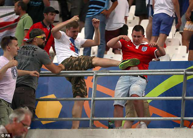 Russian hooligans also attacked English fans after the final whistle inside the Stade Velodrome
