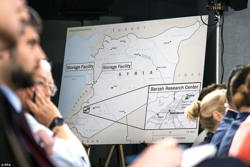 A map shows the location of the three targets. The Barzah Research Center was nearer the capital and the two storage facilities were to the north