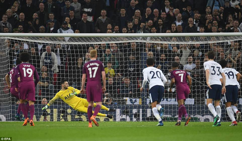 Keeper Lloris dived the wrong way as the penalty from Gundogan was tucked away into the inside side-netting to his left