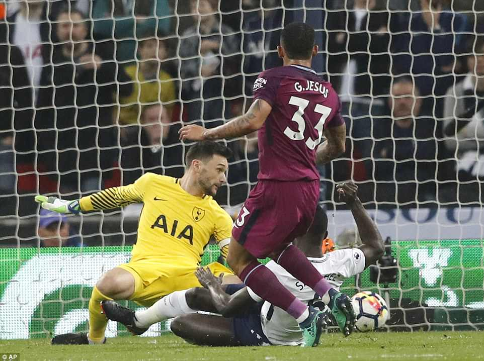 But City were ahead midway through the opening half when Gabriel Jesus scored his 10th Premier League goal of the season