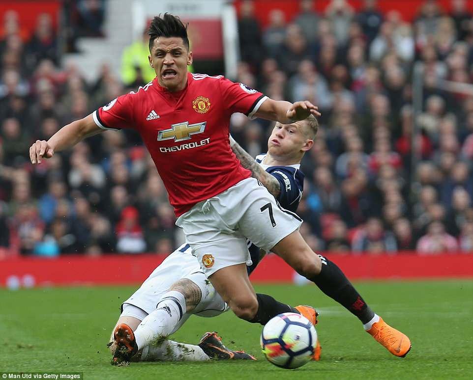 Manchester United attacker Alexis Sanchez goes down under the challenge of West Brom midfielder James McClean