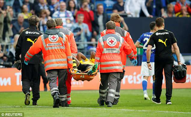 Batshuayi was eventually taken off on a stretcher, leaving Dortmund to finish with 10 players