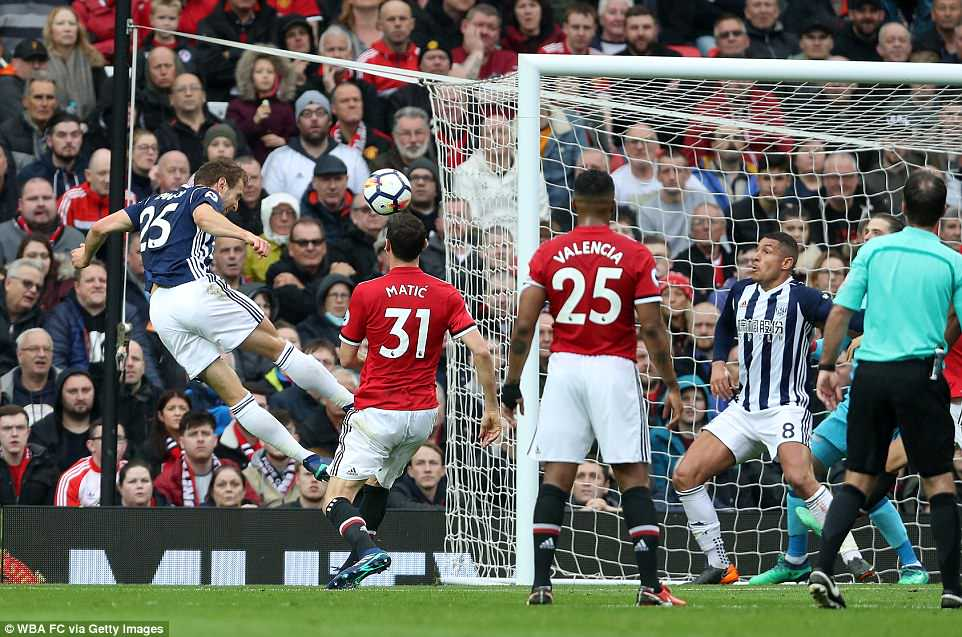 Craig Dawson of West Bromwich Albion heads toward the Manchester United goal from a corner but fails to score