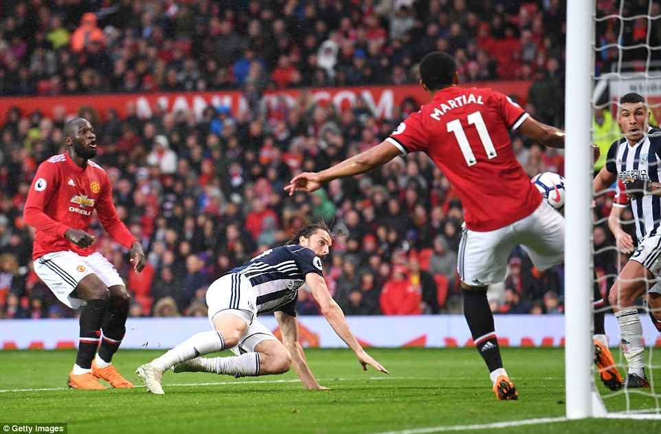 West Brom striker Rodriguez bundles the ball into the net to give West Brom a surprise lead at Old Trafford on Sunday