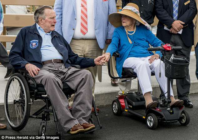The 92-year-old wife of President George H. W. Bush is now being care for at her Houston, Texas home. They couple are pictured above in May last year