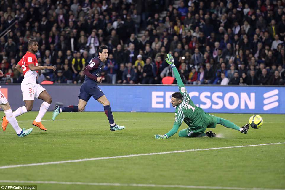 Di Maria's clever finishing proved too difficult for the Monaco defence to handle as PSG ran out comfortable winners