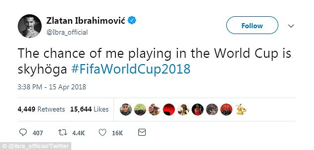 The 36-year-old tweeted to say his chances of making World Cup were 'sky-high' on Sunday