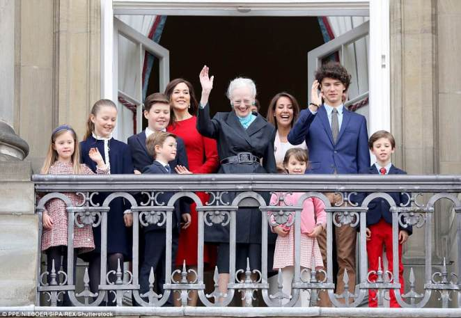 The Queen's other daughter-in-law, Princess Marie, was also on the balcony with her husband Prince Joachim and their children Prince Henrik and Princess Athena. Prince Nikolai, the son of Prince Joachim and his first wife, Alexandra, and a fledgling catwalk model, was also there
