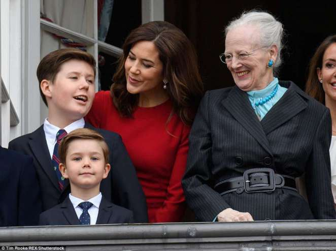 Dapper Princes: Josephine's twin brother Prince Vincent (below left) delivered an angelic performance for the cameras, while his mother and grandmother were snapped smiling proudly at he and his older brother