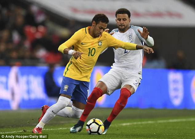 Neymar, pictured in action against England last month, is currently out with a fractured foot