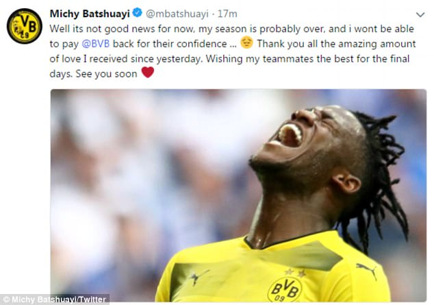 Batshuayi confirmed his season is 'probably over' and thanked Dortmund fans for their support