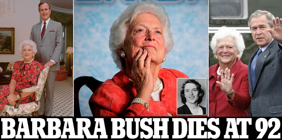 Barbara Bush dies aged 92 two days after falling seriously ill
